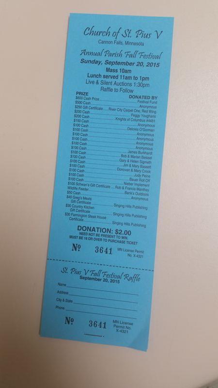 Raffle ticket 2015