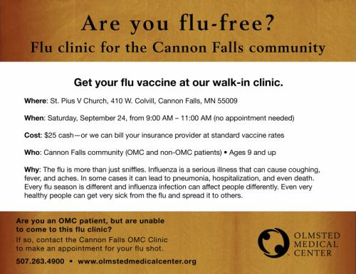 OMC Public Flu Clinic Cannon Falls 072716