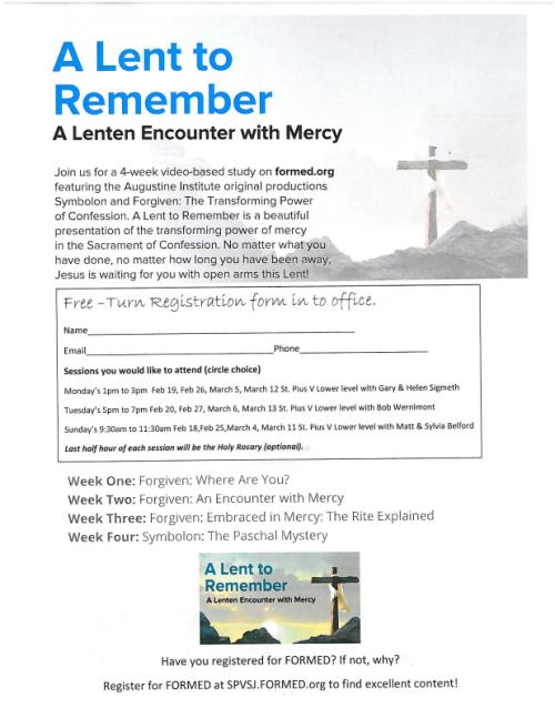 Flyer registration a lent to remember